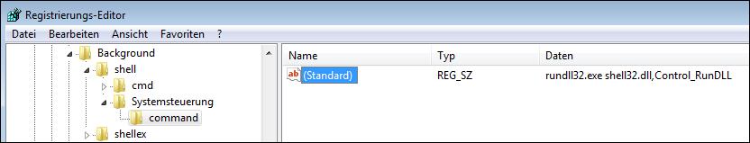 Registry-Eintrag für die Systemsteuerung im Kontextmenü