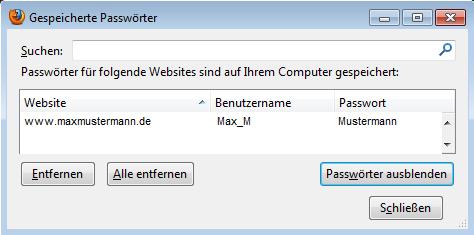 Benutzername und Passwort auslesen / Firefox