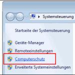 Wiederherstellungspunkte setzen Windows 7
