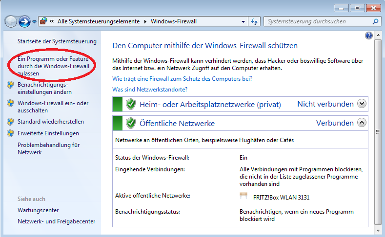 Windows Firewall / Ausnahme hinzufgen