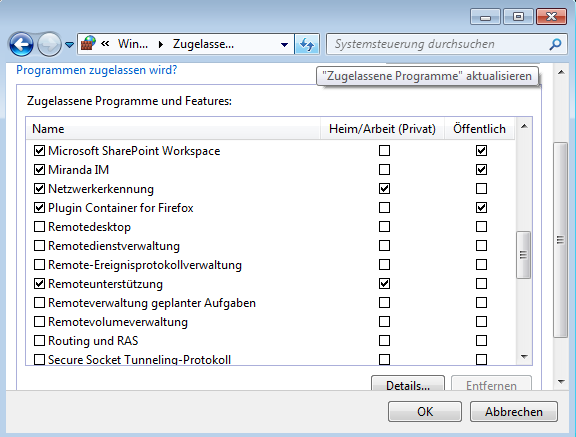 Windows-Firewall / Ausnahmen hinzufgen