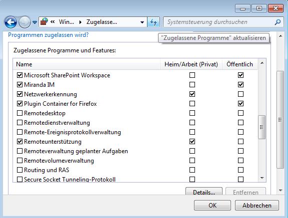 Windows-Firewall / Ausnahmen hinzufügen
