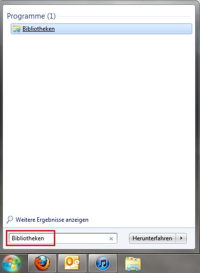 Windows 7 Bibliotheken öffnen