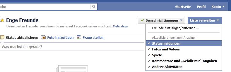 Facebook intelligente Listen verwalten