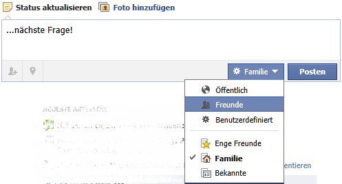 Facebook Status teilen mit intelligenter Liste