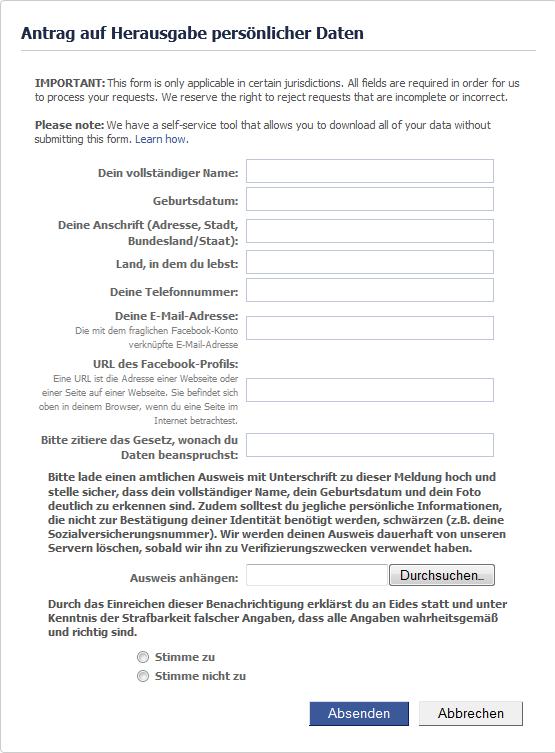 Facebook persönliche Daten Anfordern