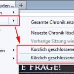 Vorgang zum Wiederherstellen von Fenstern und Tabs in Firefox