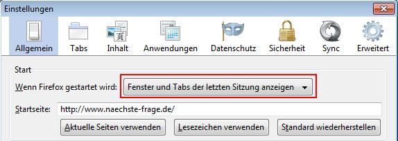 Firefox Tabs beim Schließen sichern