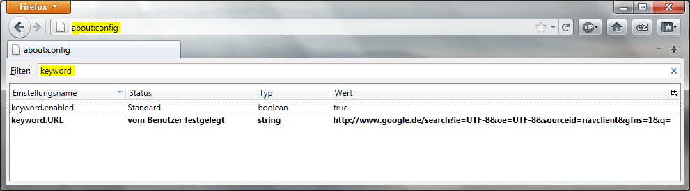 Suche über Adressleiste aktivieren in Firefox 4.0 / 5.0
