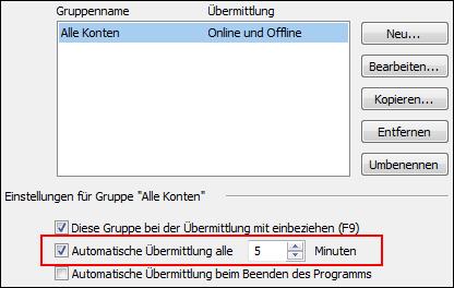 Outlook Frequenz des E-Mail-Abrufs ändern