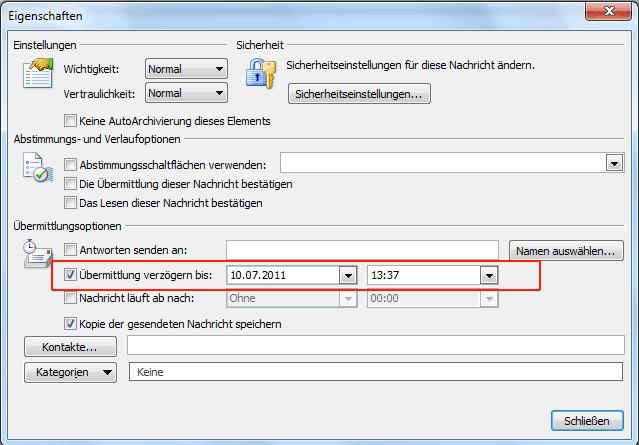 Zeitverzögert E-Mails senden mit Microsoft Outlook
