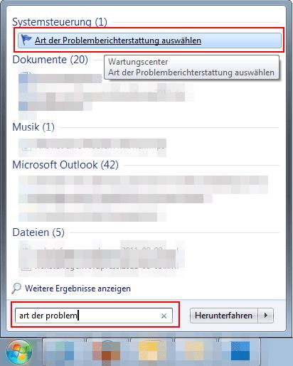 Problemberichterstattung ausschalten unter Windows Vista und Windows 7