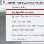 Vorgang zum Anpinnen von Tabs in Firefox