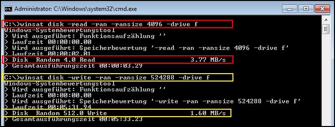 Speedtest eines USB Sticks mit WinSAT