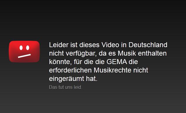 Youtube - Leider ist dieses Video in Deutschland nicht verfügbar